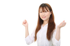 Young asian business woman. Raising her arms in sign of victory Stock Photography
