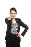Young Asian business woman angry and point to camera Royalty Free Stock Images