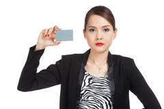 Young Asian business woman with a blank card Stock Photos