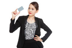 Young Asian business woman with a blank card Royalty Free Stock Photo