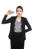 Young Asian business woman with a blank card Stock Image
