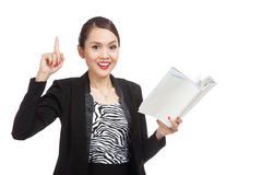 Young Asian business woman with a book have an idea Stock Photos