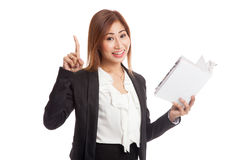 Young Asian business woman with a book have an idea Royalty Free Stock Images