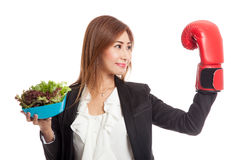 Young Asian business woman with boxing glove and salad Stock Photography