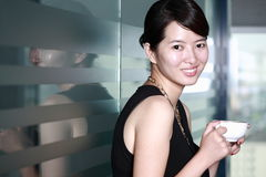 Young asian business woman with cofee Royalty Free Stock Photos