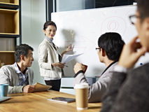 Young asian business woman facilitating a discussion. Young asian business executive facilitating a discussion or brainstorm session in meeting room royalty free stock images