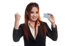 Young Asian business woman fist pump with blank card. Stock Images