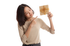 Young Asian business woman with a gift box Stock Photos