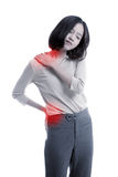 Young Asian business woman got back pain royalty free stock images