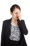 Young Asian business woman got sick and  headache Royalty Free Stock Photography