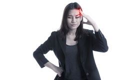 Young Asian business woman got sick and  headache. Stock Images
