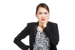 Young Asian business woman got toothache Royalty Free Stock Photos