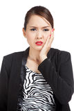 Young Asian business woman got toothache Royalty Free Stock Images