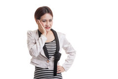 Young Asian business woman got toothache. Stock Photo