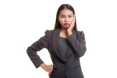 Young Asian business woman got toothache. Royalty Free Stock Photo
