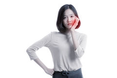 Young Asian business woman got toothache royalty free stock photo
