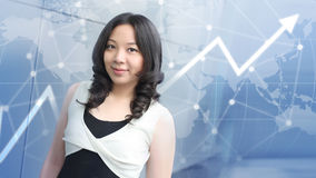 Young asian business woman growth graph and social technogy background Stock Image