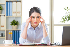 Young asian business woman with headache Royalty Free Stock Images