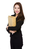 Young asian business woman holding file document Royalty Free Stock Image