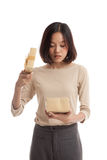 Young Asian business woman open a gift box Stock Images