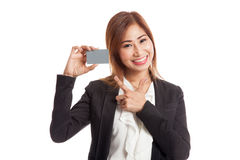 Young Asian business woman point to a blank card Stock Photography