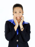 Young asian business woman with presenting posture over white Royalty Free Stock Photos