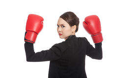 Young Asian business woman with red boxing gloves Stock Photos