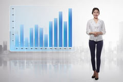 Young asian business woman showing growing financial graph Royalty Free Stock Photos