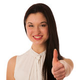 Young asian business woman showing thumb up gesturing success - Stock Photos