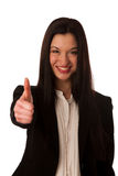 Young asian business woman showing thumb up gesturing success -. Ok sign isolated over white Royalty Free Stock Image