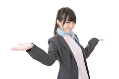 Young asian business woman shrugging Royalty Free Stock Photo