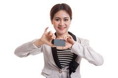 Young Asian business woman smile with  blank card. Stock Images