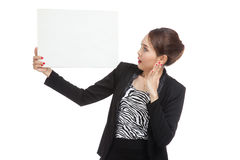 Young Asian business woman  surprise with  white blank sign Stock Images