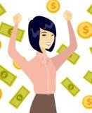 Young asian business woman under money rain. Stock Photo