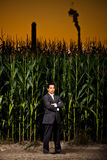 Young asian businessman in front of a corn field Stock Image