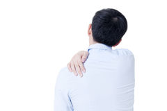 Young Asian businessman having shoulder pain in white isolated Stock Photo
