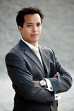 Young asian businessman industrial outdoor Royalty Free Stock Photography