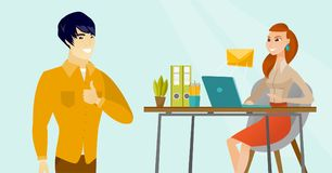 Young business woman receiving or sending email. Young asian businessman standing on the background of caucasian white business woman working on a laptop and Royalty Free Stock Photos