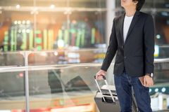 Young asian businessman  waiting in airport terminal Royalty Free Stock Photography
