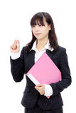 Young asian businesswoman. Young asian business woman holding a file documant Royalty Free Stock Photos