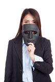 Young Asian businesswoman with a black mask Royalty Free Stock Photography