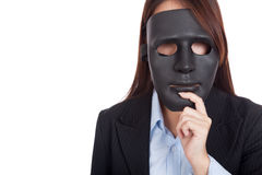 Young Asian businesswoman with a black mask Stock Photos