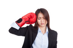 Young Asian businesswoman with boxing glove Royalty Free Stock Photos