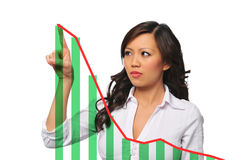 Young asian businesswoman with chart Royalty Free Stock Photography