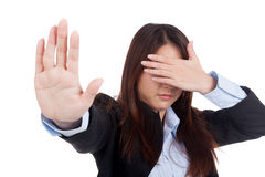 Young Asian businesswoman cover her eye say no Stock Photos