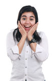Young Asian Businesswoman Excited and Surprised Royalty Free Stock Image