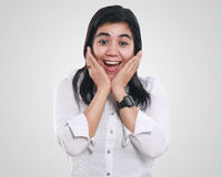 Young Asian Businesswoman Excited and Surprised Royalty Free Stock Images