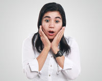 Young Asian Businesswoman Excited and Surprised Stock Image