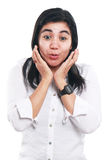 Young Asian Businesswoman Excited and Surprised Stock Photography