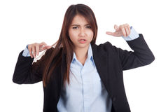 Young Asian businesswoman with frightening gesture Stock Images